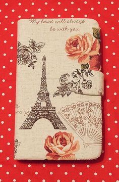 Diy Handmade Cloth Art Flip Cover Case JJ. French Eiffel Tower and Rose (horizontal) for Samsung Galaxy Note 2 S3 S2 S arc s Sony acro s. $29.99, via Etsy.