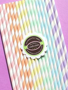 Pastel Rainbow Stripe Paper Straws - Includes Printable DIY Flag Toppers & Pixie Stix Recipe (30 count) Use for Cake Pops and Drink Markers