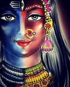 Shiva Parvati Images, Durga Images, Shiva Hindu, Shiva Art, Lord Krishna Images, Hindu Deities, Krishna Art, Durga Maa Paintings, Durga Painting