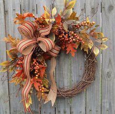 Fall Wreath Harvest Door Wreath Autumn Wreath by HornsHandmade