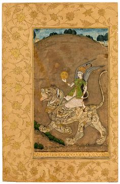 A Sun-bearing Peri Rides a Composite Lion Mughal, Kashmir, probably third quarter of the eighteenth century. 343 x 222 mm