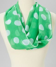 Take a look at this Green & White Polka Dot Infinity Scarf by SAKA INC. on #zulily today!