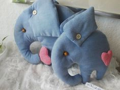 Blue elephant toys mother and baby  from MadeByMiculinko by DaWanda.com