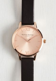 Undisputed Class Watch in Rose Gold/Black - Petite. Become known as the arbiter of good taste by making this watch from Olivia Burton your everyday accessory! #black #modcloth