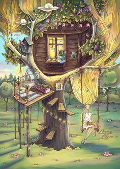 Magic House, Fantasy Forest, Fantasy Kunst, Cute Cartoon Wallpapers, Moon Art, Fantasy Artwork, Whimsical Art, Disney Art, Cartoon Art