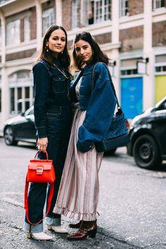 Attendees at London Fashion Week Fall 2018 - Street Fashion