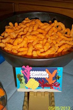 Cheese curls look like coral for Under the Sea party. Cheese curls look like coral for Under the Sea party. Little Mermaid Birthday, Little Mermaid Parties, Mermaid Party Food, Sea Party Food, Party Snacks, Party Hats, Moana Birthday Party, 2nd Birthday, Birthday Ideas
