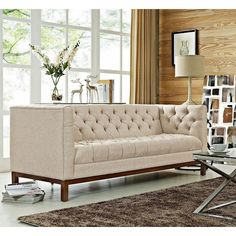 Modway Furniture Panache Beige Fabric sofa with deep tufted buttons in beige Add vivacity to your decor with Sofa Upholstery, Upholstered Sofa, Fabric Sofa, Beige Sofa, Pink Sofa, Modern Couch, Modern Lounge, Elegant Living Room, Sofa Design