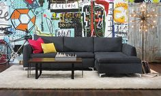 Chaise sectional sofa with granite upholstery, chrome legs.