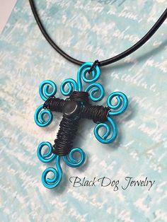 Swirled Wire Cross Necklace  Blue Wire by BlackDogJewelrynArt