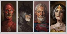 (larger) Shanghai, China-based artist Eddie Liu has created Eld Heroes, a brilliant illustration that imagines what a group of iconic DC superheroes might Old Superheroes, Drawing Superheroes, Superman, Batman, Cultura Pop, Comic Books Art, Comic Art, Book Art, Shanghai