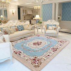 Blue-Carpet-Rose-Print-Living-Room-Carpet-European-Room-Floor-Mat