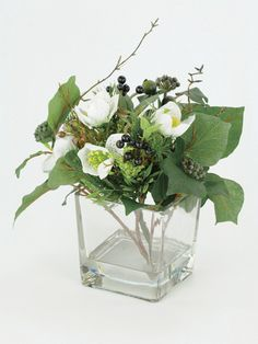 Artificial Hellebore Cube vase mix from The Secret Garden of Sussex, £25.00, Christmas Festive