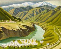 Doris Lusk Untitled (Cromwell Gorge) Oil on gesso on hardboard Landscape Pictures, Landscape Art, Landscape Paintings, Landscapes, Example Of News, New Zealand Landscape, New Zealand Art, Nz Art, Kiwiana