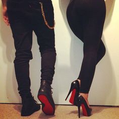 His and her Red Bottoms, Christian Louboutin