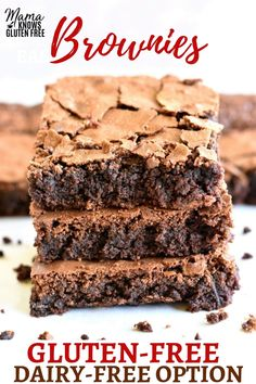 The best homemade gluten-free brownies. Thick, chocolatey and chewy! With a dairy-free option. Recipe from www. Churros Sin Gluten, Crepes Sin Gluten, Pizza Sin Gluten, Gluten Free Sweets, Gluten Free Cakes, Gluten Free Chocolate, Gluten Free Baking, Gluten Free Deserts, Dairy Free Options