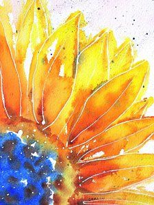 Wall Art Sunflowers Wall Art - Painting - Sunflower Blue Orange And Yellow by Carlin Blahnik CarlinArtWatercolor Watercolor Sunflower, Sunflower Art, Watercolour Painting, Watercolor Flowers, Watercolors, Yellow Art, Yellow Painting, Blue Orange, Carlin