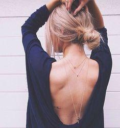 blusa decote costas colares ao contrário