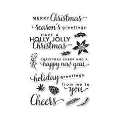 """A collection of 15 clear Christmas-themed sentiment and icon stamps to spread some festive cheer. These stamps can be used to create simple greetings on your Christmas cards.These clear stamps peel off their 4"""" x 6"""" backing sheet and stick to any acrylic block making for easy stamping. Simply apply your favourite ink and stamp crisp clear images! They are made from 100% photo-polymer which is latex free, phthalate free, non-toxic and biodegradable."""