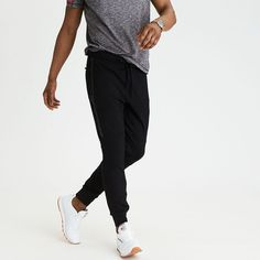 AE Lightweight Fleece Jogger ($50) ❤ liked on Polyvore featuring men's fashion, men's clothing, men's activewear, men's activewear pants, black and american eagle outfitters