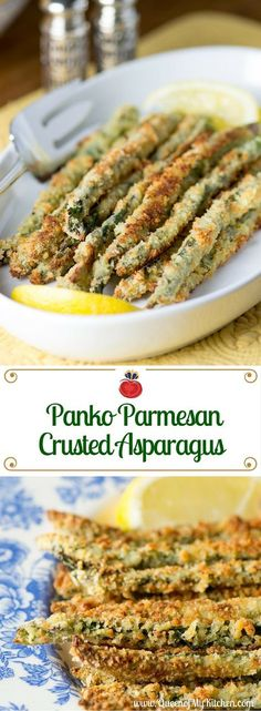 Panko Parmesan Crusted Asparagus - Asparagus is encased in a crispy coating of panko-parmesan crumbs resulting is a vegetable that tastes more like a treat.