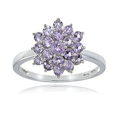 Sterling Silver Genuine Amethyst Flower Ring Size 7 -- See this great product.Note:It is affiliate link to Amazon.