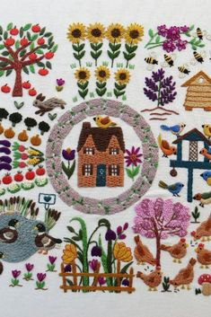 Join in the Stitch A Long on the 13th Jan 2021 - we will be stitching this wonderful design over 12 weeks on the Stitchdoodles Blog | meadow flower embroidery | hand embroidery sampler pattern | hand embroidery tutorial | hand embroidery flowers | wild flower meadow embroidery | hand embroidery sampler design | hand embroidery cottage| hand embroidery designs | hand embroidery tutorial beginner | #handembroiderytutorial | #handembroidery | |#beginnerembroidery | #stitchdoodlesembroidery Hand Embroidery Projects, Hand Embroidery Tutorial, Embroidery Sampler, Embroidery Flowers Pattern, Hand Embroidery Stitches, Modern Embroidery, Embroidery Hoop Art, Hand Embroidery Designs, Embroidery Techniques