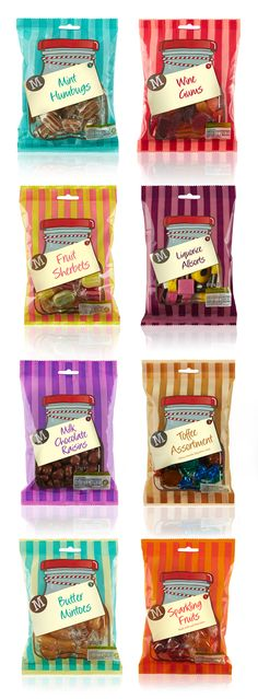 Morrisons Family Sweets: Our aim was to give these packs a comfortable, nostalgic feel – reminding customers of the good old days of the village sweet shop. #design #packaging #sweets