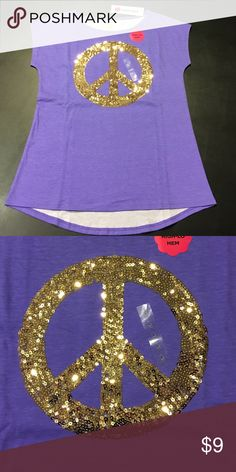 Girls L (14) Purple Shirt with Peace Sign NWT ✨ NWT 🔸Size L (14)🔸total girl brand 🔸shirt with Peace Sign in Gold Sequins on the front, it has a high-lo hem style for added back coverage🔸color is Laser Purple 🔸comes from a smoke and pet free home, please check out my other items thank you❣️ total girl Shirts & Tops Tees - Short Sleeve