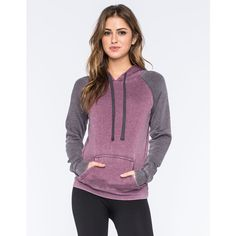 Full Tilt Essential Colorblock Womens Pullover Hoodie ($25) ❤ liked on Polyvore featuring tops, hoodies, plum, pullover hoodies, hooded sweatshirt, hoodies pullover, raglan sleeve top and raglan hoodie