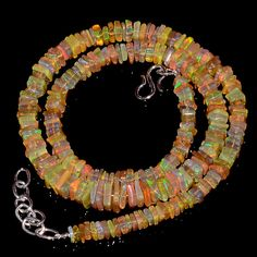 "85CRTS 4to7MM 18"" ETHIOPIAN OPAL SQUARE  BEAUTIFUL BEADS NECKLACE OBI2545 #OPALBEADSINDIA"