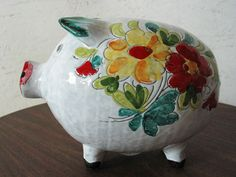 piggy bank italian ceramic | Vintage Piggy Bank- Italian Hand Painted -Mid Century Modern - Fantoni ...