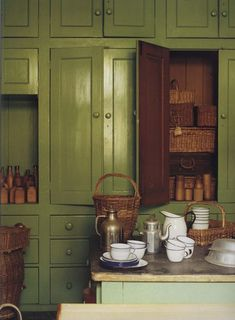 The World of Interiors, October Photo - James Mortimer - cool old green kitchen Kitchen Interior, Kitchen Design, Kitchen Decor, Interior Walls, Verde Greenery, World Of Interiors, Interior Decorating, Interior Design, Green Kitchen