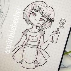 regram @winklebeebee November 12th #dailydrawing [Cafe]. #art #artstagram #drawing #illustration #sketch #sketchbook #doodle #ink #quicksketch #design #instaart #igdraws #creative_instaarts #abeautifulmess