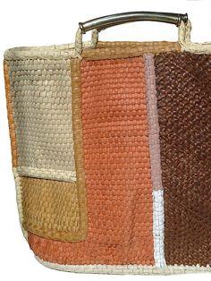 woven leather. madagascar market tote. perez sanz.