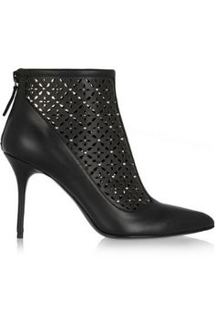 Perforated studded leather ankle boots