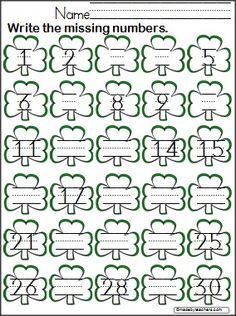Write the missing numbers from 1 to 30 on the shamrocks. Patrick's Day math. Patrick's Day Write the Missing Numbers to 30 - Madebyteachers Preschool Math, Kindergarten Classroom, Classroom Activities, Classroom Ideas, St Patricks Day Crafts For Kids, St Patrick Day Activities, Writing Numbers, Learning Numbers, St Pattys