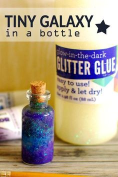 Learn how to make a tiny galaxy in a Bottle using glitter glue! - Paper and Landscapes