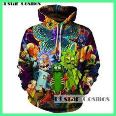 PLstar Cosmos 2017 Moda Hoodies 3d del fumetto Caldo rick e morty stampato Donne/Uomini Hoody Streetwear con cappuccio felpe