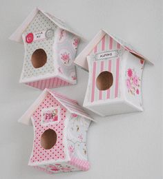 Small bird houses made of paper or wood - decopaged