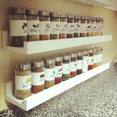 DIY spice rack! easy access, doesn't take up room in the cupboards!  and they're all easy to see                                                                                                                                                                                 More