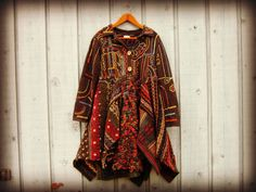 L-XL Embroidered Multi OOAK Sweater Top Tunic Dress// Upcycled// emmevielle