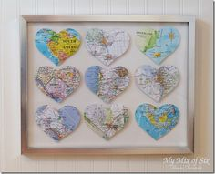 My very creative friend, Shauna made this for her husband for their anniversary. Each heart/map represents a different place they've lived together. If I did this right now we'd only have 4 hearts, so maybe I ought to hold off for a while.