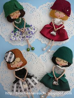 brooches, Nereuchi - These are just so adorable! I just love them to bits! Doll Crafts, Sewing Crafts, Sewing Projects, Hobbies And Crafts, Diy And Crafts, Arts And Crafts, Felt Dolls, Paper Dolls, Little Presents