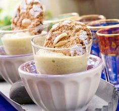 Sweet moroccan almond cookies Pudding Desserts, Almond Cookies, Sorbet, Panna Cotta, Ethnic Recipes, Moroccan, Food, Pineapple, Dulce De Leche