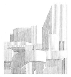 Owen D Pomery is a prolific urban sketcher and illustrator, you can see more of his work here Denys Lasdun's National Theatre (1976), 2013