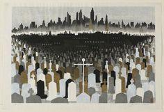 関野 準一郎 Junichiro Sekino 墓とニューヨーク Graveyard and New York 1960 ボストン美術館 Boston hanga