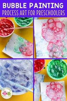 Looking for new art activities for kids? Bubble painting is a fun process art activity for your kids in preschool, pre-k and kindergarten classroom.  Check out these tips and tricks.  There are many opportunities to explore and experiment....a fun opportunity for creativity.  Children can look at how the colors mix and blend together.  Use all the colors of the rainbow or use seasonal colors.  Spring, summer, winter, fall, your can make bubble art projects year round. Preschool Activities At Home, Color Activities, Preschool Art, Hands On Activities, Literacy Activities, Bubble Painting, Bubble Art, Process Art, Painting Process