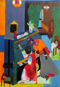 Romare Bearden - Homage to Mary Lou (The Piano Lesson): Graphic Print. Lithograph in colors on Arches Paper. Art Works, American Art, Romare Bearden, Dada Art, Art Matters, Art, African American Art, Art History, American Artists