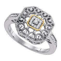 925 Sterling Silver 0.10 Ctw Diamond Fashion Ring 2.57g: Ring